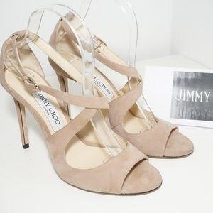 JIMMY CHOO Emily Crisscross Heel Sandal Nude Suede